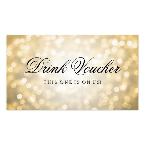 Wedding drink voucher gold glitter lights business card for Drink token template