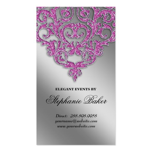 Wedding Event Planner Damask Silver Sparkle Pink V Business Card Template