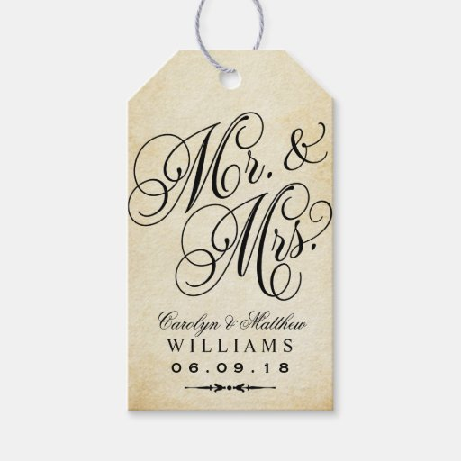 Gift Tags For Wedding Favors: Vintage Monogram Pack Of Gift Tags