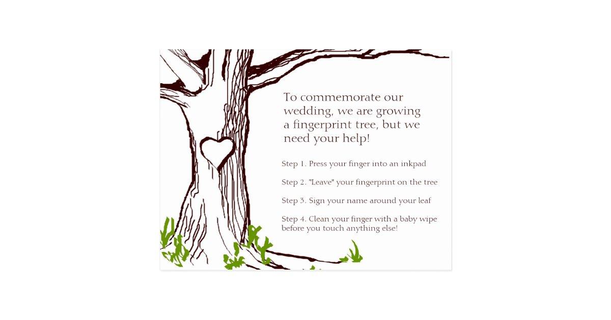 wedding tree guest book free template - wedding fingerprint tree instruction card zazzle