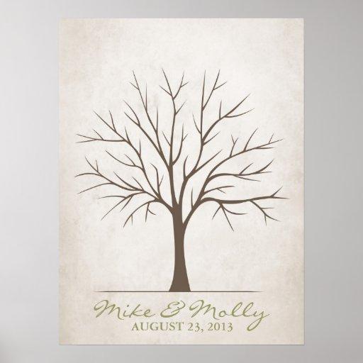 Wedding Fingerprint Tree – Rustic Posters   Zazzle