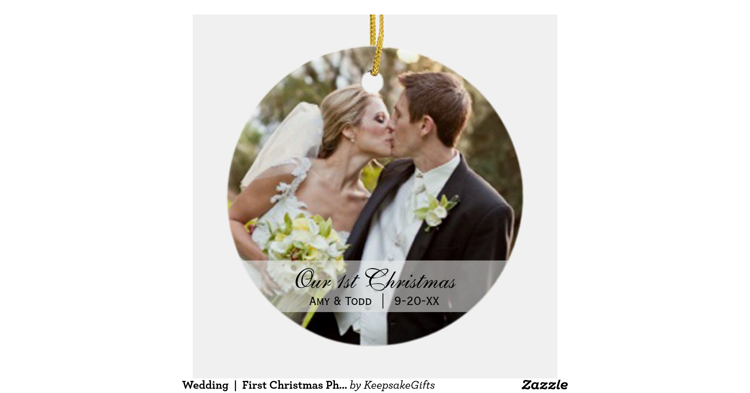 wedding_first_christmas_photo_ornament ...