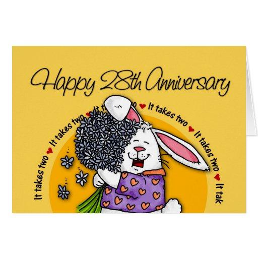 28th Wedding Anniversary Gift: Wedding - Happy 28th Anniversary Greeting Card