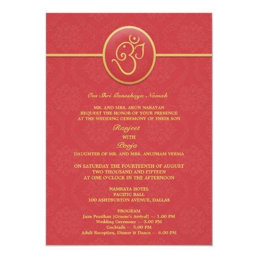Flat Wedding Invitations: Wedding Indian Style Flat Invitation