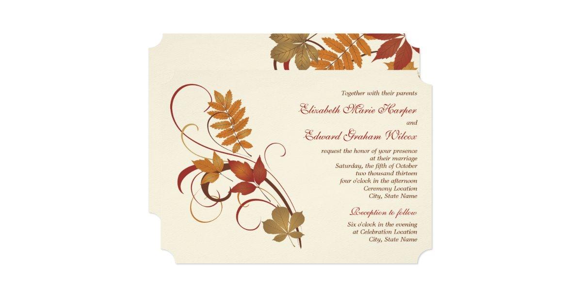 Top 10 Pantone Fall Wedding Colors 2014 Trends |Fall Leaves Wedding Invitations