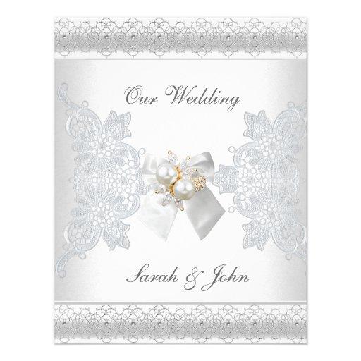 "Pearl And Lace Wedding Invitations: Wedding Invitation White Silk Lace Pearl Jewel 4.25"" X 5.5"