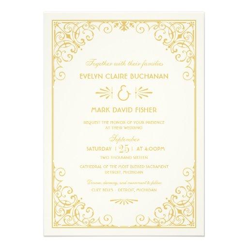 "Art Deco Wedding Invitation: Art Deco Style 5"" X 7"" Invitation"