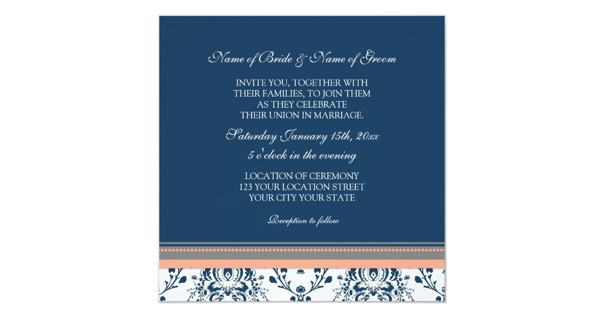 Blue And Coral Wedding Invitations: Wedding Invitations Blue Coral Grey Damask