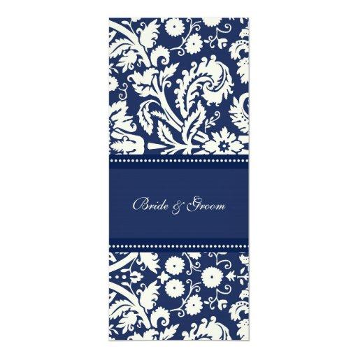 Dark Blue Wedding Invitations: Wedding Invitations Dark Blue Cream Damask