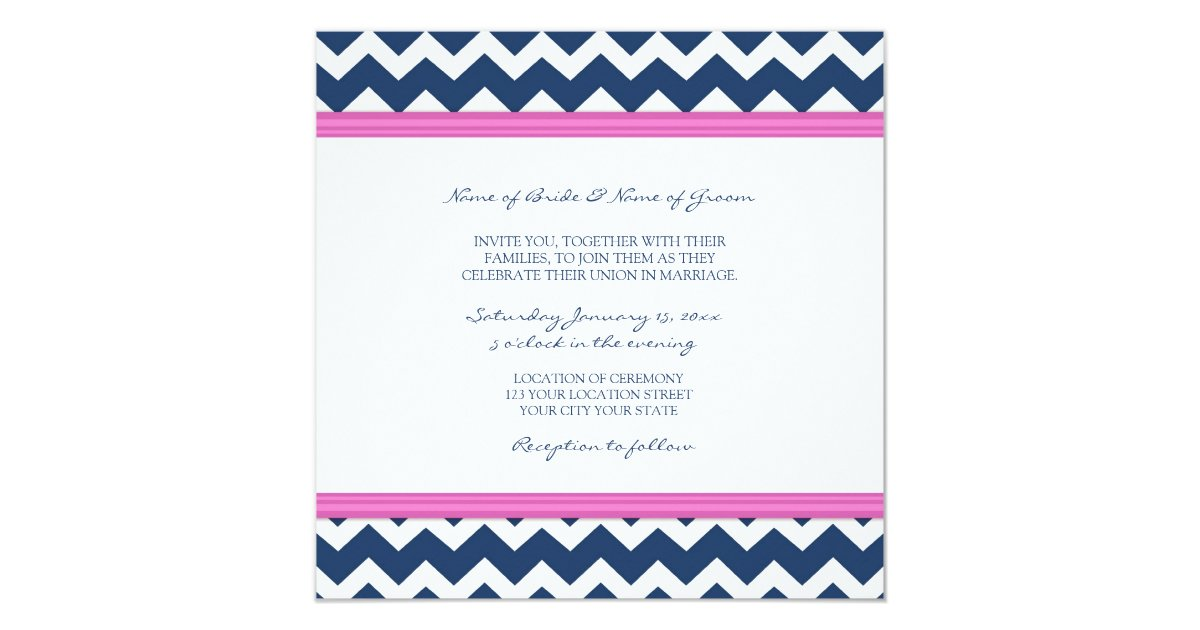 Dark Blue Wedding Invitations: Wedding Invitations Dark Blue Hot Pink Chevron