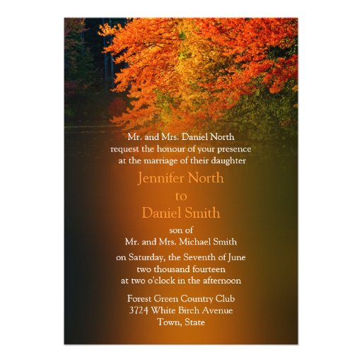 "Fall Color Wedding Invitations: Rustic Wedding Invitations For Fall 5"" X 7"" Invitation"