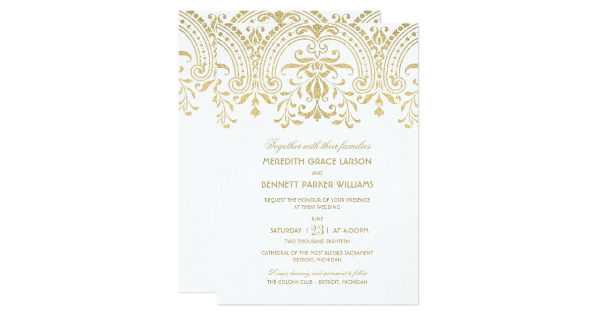Vintage Glam Wedding Invitations: Gold Vintage Glamour
