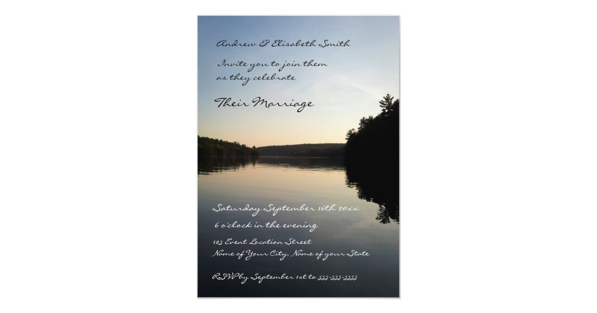 Lake Themed Wedding Invitations: Wedding Invitations Lake At Sunset