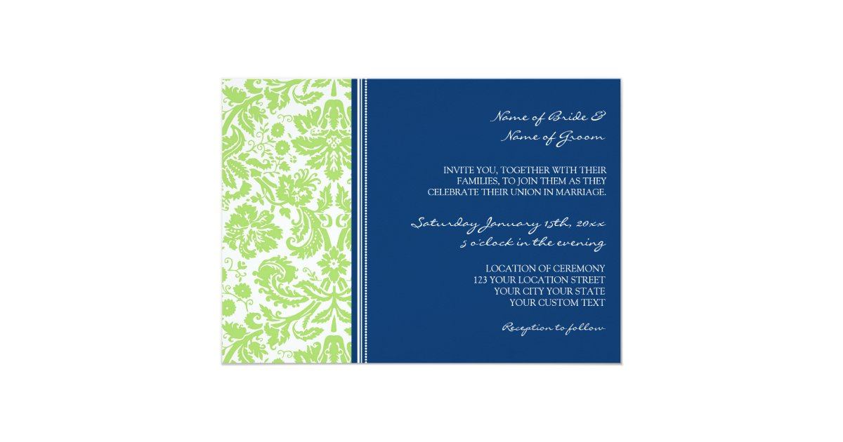 Royal Blue And Lime Green Wedding Invitations: Wedding Invitations Lime Blue Damask Pattern