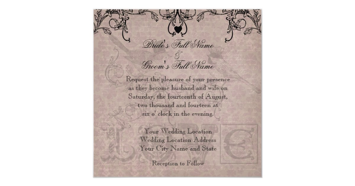 Love Birds Wedding Invitations: Wedding Love Birds Square Wedding Invitation
