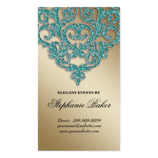 Wedding Planner Jewelry Damask Gold Sparkle Teal Business Card Templates