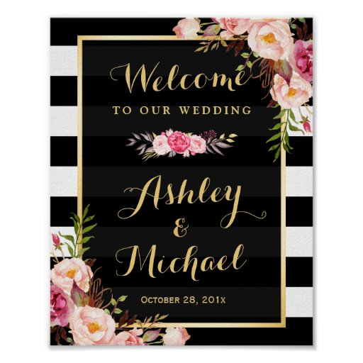 Novel Ideas For Wedding Reception: Wedding Reception Sign Gold Vintage Floral Stripes Poster