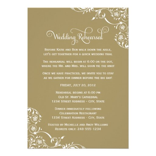 Wedding Rehearsal And Dinner Invitations