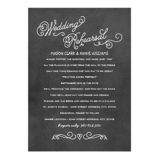 Wedding Rehearsal Invitations: Black Chalkboard Style 5x7