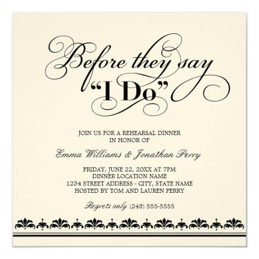 Pre Wedding Dinner Invitation: Wedding Rehearsal Dinner Invitation