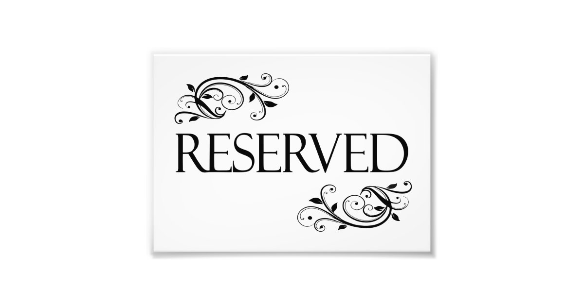 Wedding reserved table card photo print zazzle for Table reservation card template