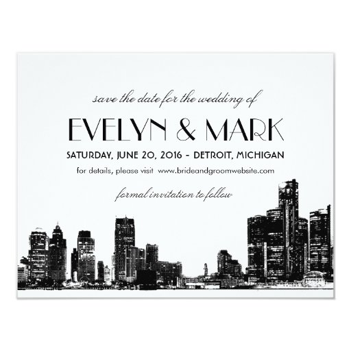 Art Deco Detroit Skyline 4.25x5.5