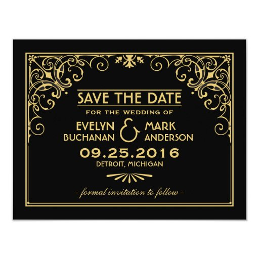 wedding save the date cards art deco style custom announcement zazzle. Black Bedroom Furniture Sets. Home Design Ideas