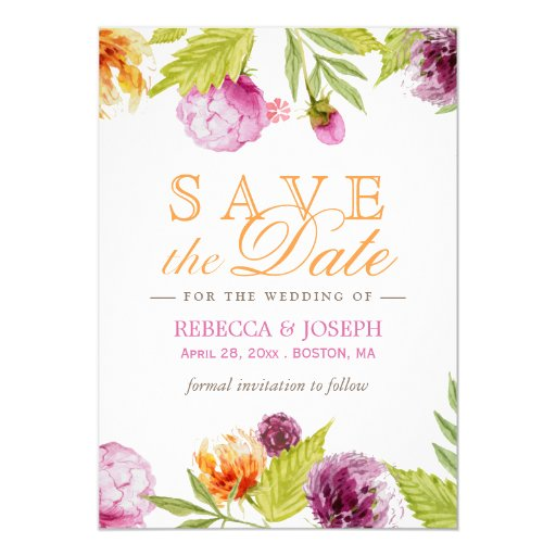 Save The Date Wedding Floral Ornament Wedding Floral: Wedding Save The Date Modern Spring Floral 5x7 Paper