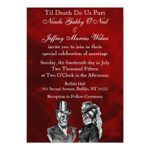 Wedding Skeleton Skulls Invitation | Zazzle