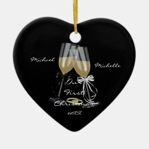 Wedding Toast Our First Christmas Ornament   Zazzle