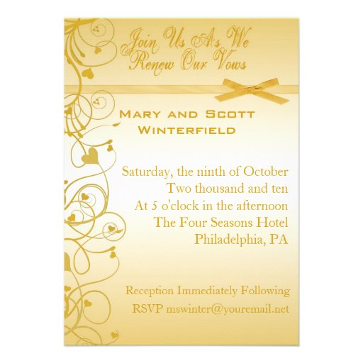 "Wedding Vow Renewal Invitations: Wedding Vow Renewal Invitations 5"" X 7"" Invitation Card"