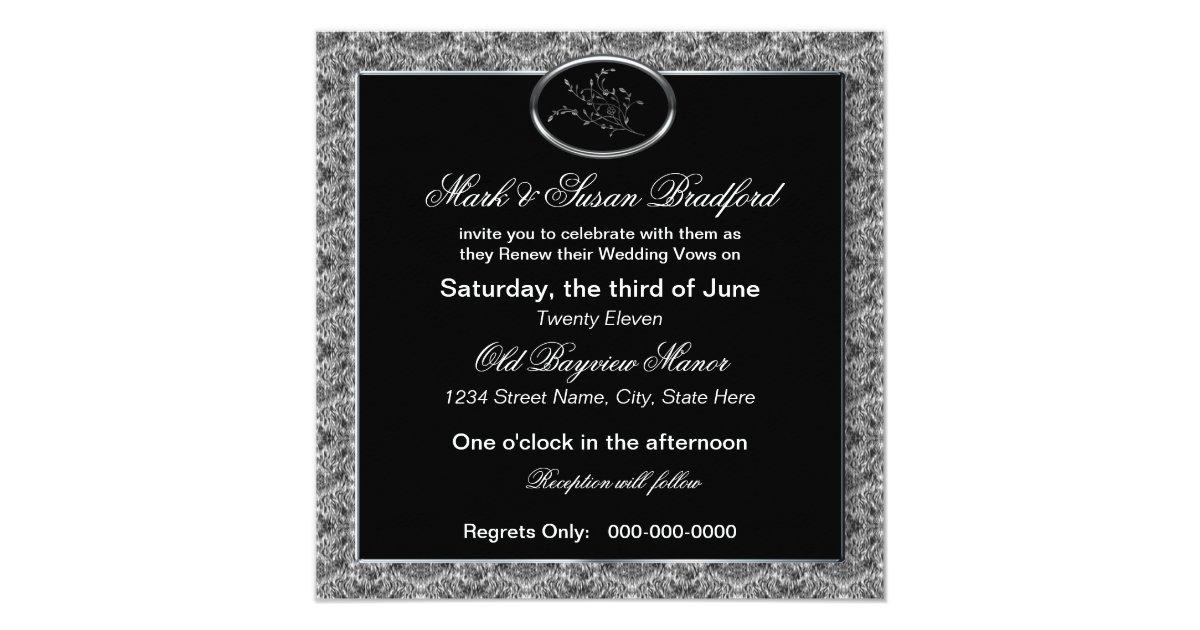 Invitation For Renewal Of Wedding Vows: Wedding Vows Renewal Invitation - Black/Silver