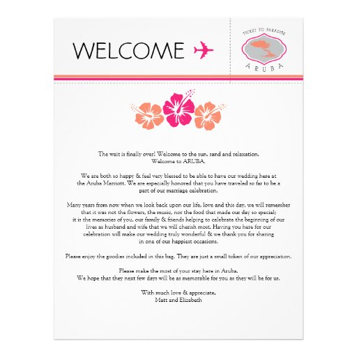 Wedding Welcome Letter for Aruba Letterhead | Zazzle