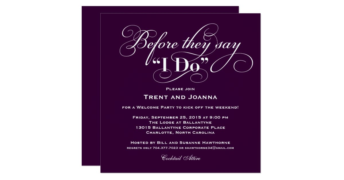Invitation For Wedding Party: Wedding Welcome Party Invitation