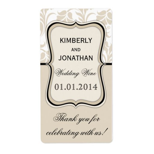 will you be my bridesmaid wine label template - wedding wine bottle label elegant beige and black shipping