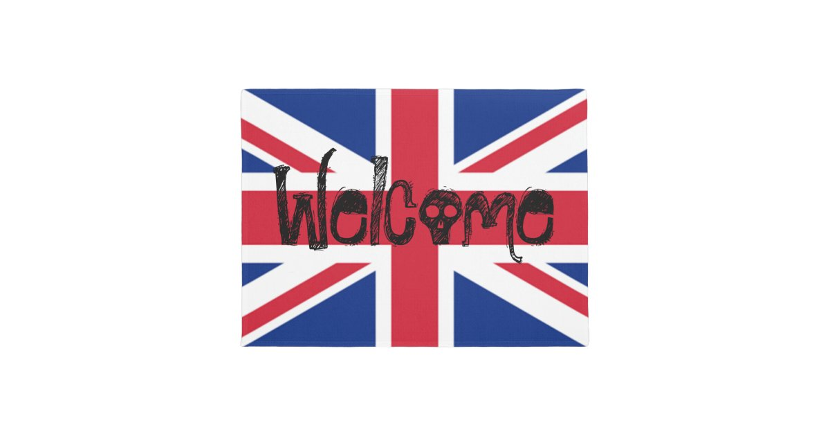 Welcome Union Jack British Skull Doormat Zazzle