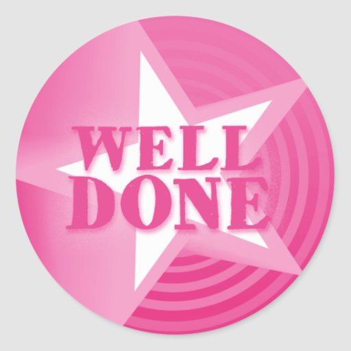 Well done star praise sticker pink | Zazzle | 512 x 512 jpeg 33kB