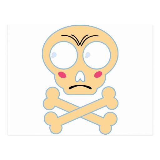 Wellcoda Emoji Fun Skull Bone Scared Head Postcard