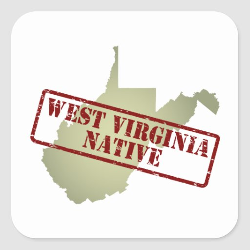 Va Native Plant Society: West Virginia Native Stamped On Map Square Sticker