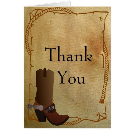 Western Cowboy Boot Thank You Card Zazzle