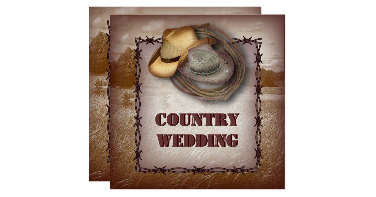Western Wedding Invites: Western Cowboy Rustic Country Wedding Invitation