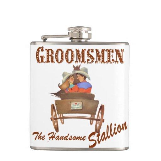 Cowboy Wedding Gifts: Western Cowboy Wedding Flask Groomsmen's Gift