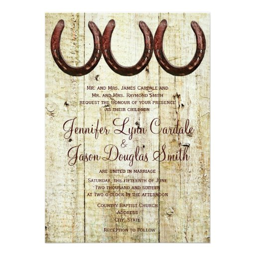 "Western Wedding Invitations: Western Horseshoes Barn Wood Wedding Invitations 5"" X 7"