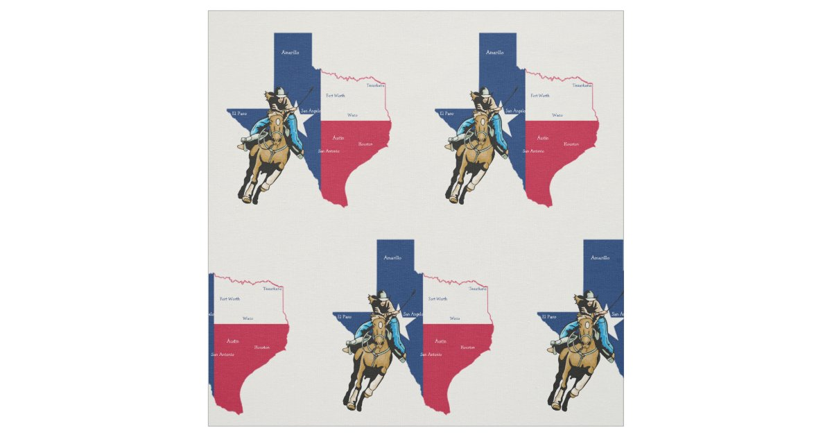 Western Rodeo Cowgirl Barrel Racing In Texas Fabric Zazzle