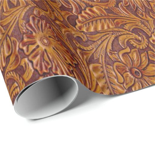 Western Tooled Leather Print Wrapping Paper Zazzle