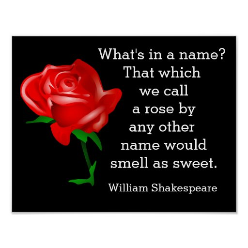Shakespeare What Is In A Name Quote: What's In A Name - Shakespeare Art Print