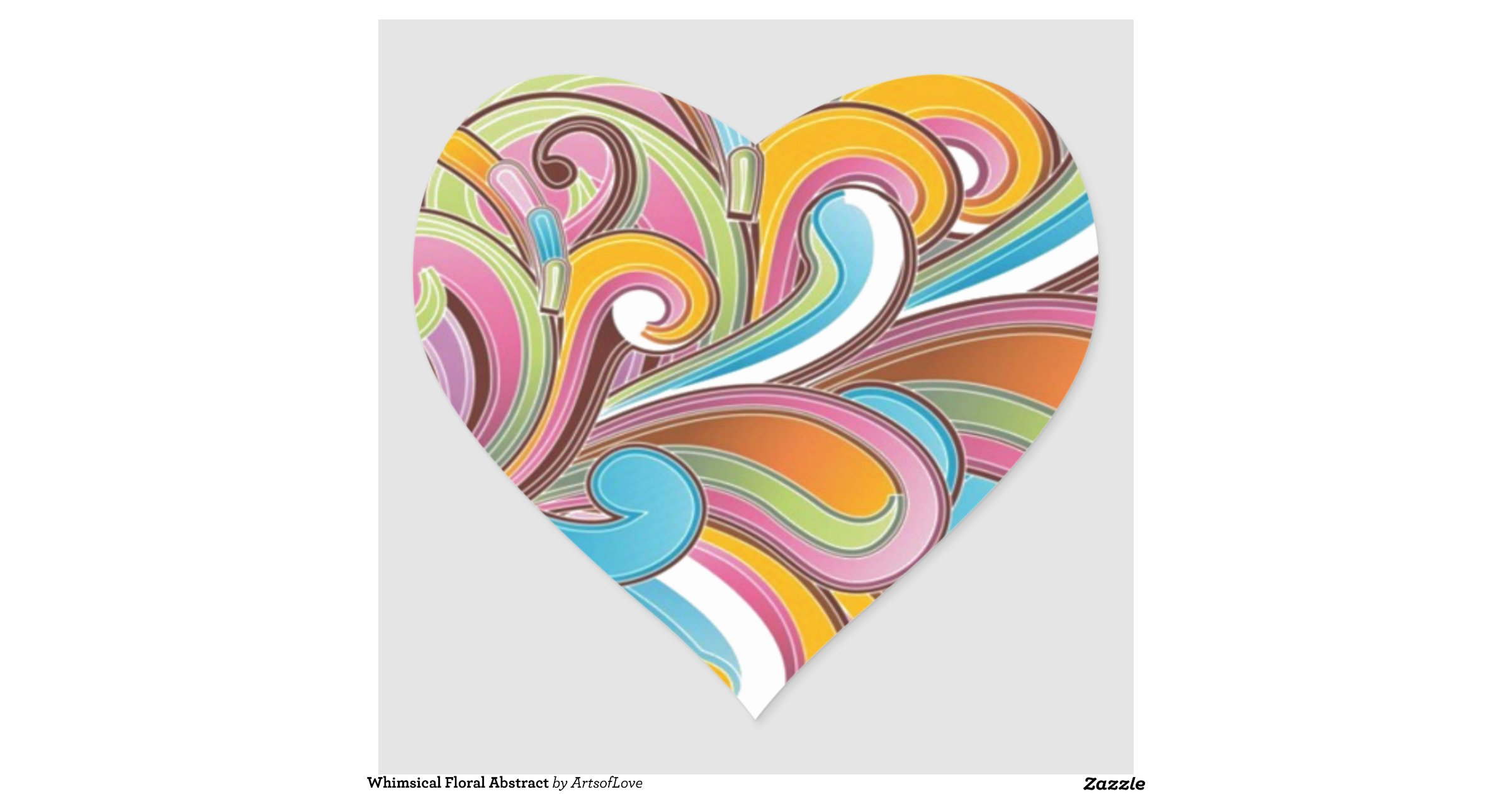Whimsical Floral Abstract Heart Sticker | Zazzle