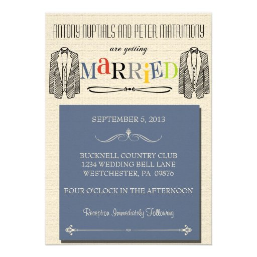 Whimsical Font Gay Wedding Invitations