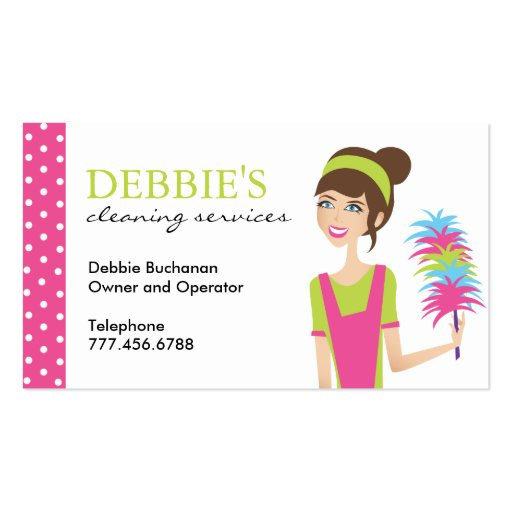 Whimsical House Cleaning Services Business Cards | Zazzle