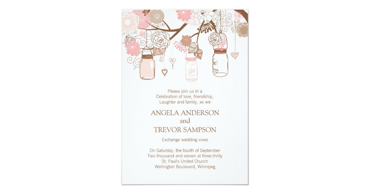 Cottage Mason Jar Wedding Invitation: Whimsical Mason Jar Wedding Invitation